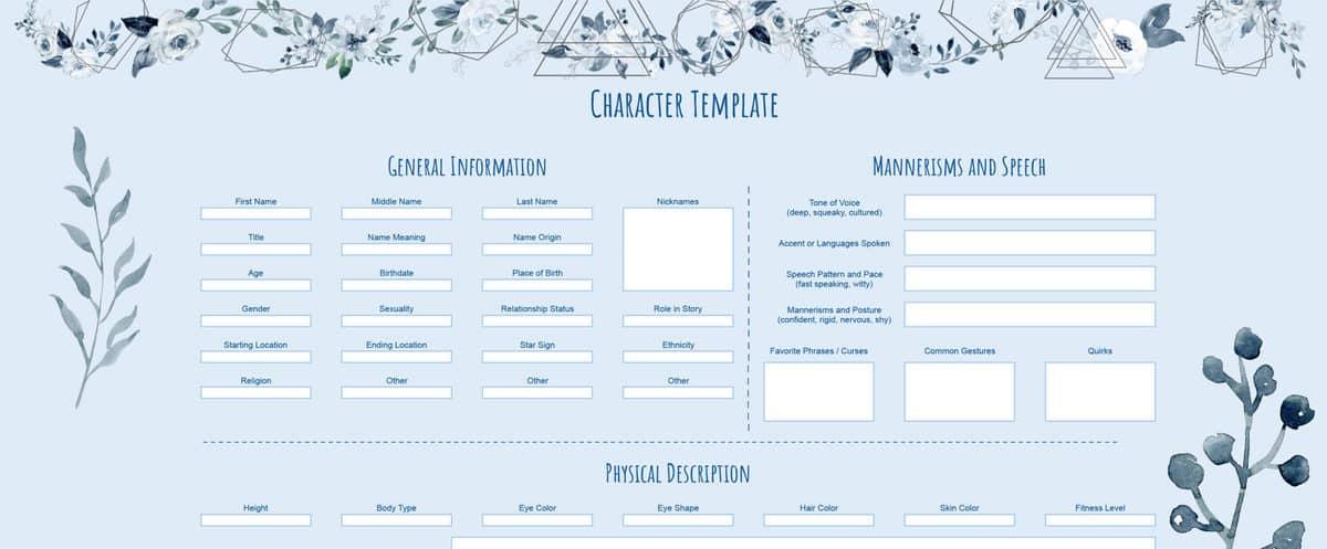 Character Template Screengrab