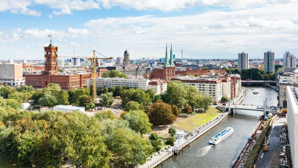 Spree River with Rathausbrucke in Berlin